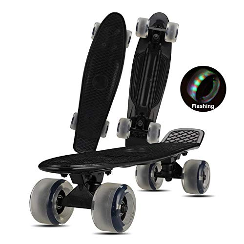 Penny Board - Tabla de monopatín de 22 pulgadas Mini Cruiser Fish Board Abec-7 Rodamientos Longboard para niños, adolescentes, adultos, principiantes, niñas, deportes al aire libre, rueda negra