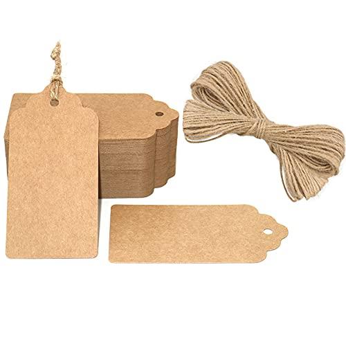 100 Etiquetas de Papel Kraft,Etiquetas de Regalo,Equipaje Etiquetas de las etiquetas de Boda con 30 Metros de Cuerda de Yute para decorar regalos(5x10cm)