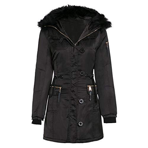 Winterjas voor dames, lange mouwen, met capuchon, van katoen, met ritssluiting, slim fit, winter, modieus, casual, dik, effen, effen, effen, lang