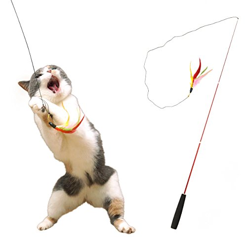 iCat FLYING CAT 釣りざお猫じゃらし カラフルフェザー 猫 おもちゃ