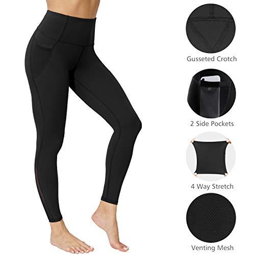 neppein Leggings Deportivos para Mujer, Cintura Alta Leggings Mallas con Bolsillos Pantalones de Yoga Elásticos para Fitness Training Running