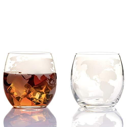 Etched Globe Spinning and Rocking World Whiskey Glasses 10oz (300ml) -...