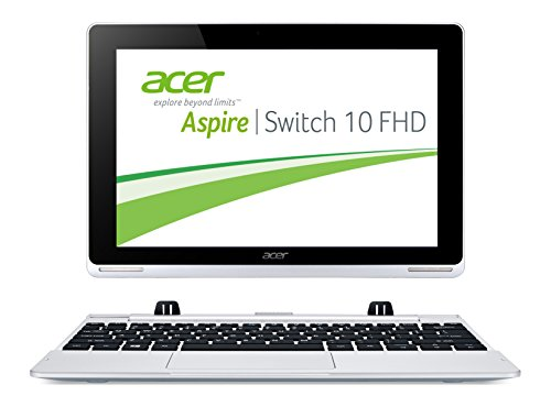 Acer Aspire Switch 10 FHD (SW5-012) 25,6 cm (10,1 Zoll) Convertible Laptop (Intel Atom Z3735F Quad-Core 1,3GHz, 2GB RAM, 32GB eMMC, Intel HD Grafik, Full-HD IPS Display, Win 8.1, Touchscreen) silber