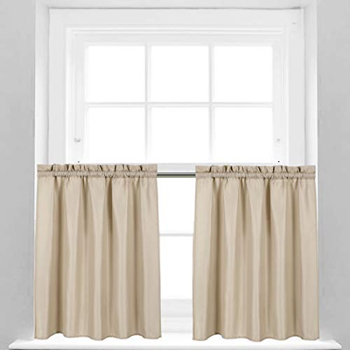Valea Home Waffle Weave Textured Bathroom Window Curtains Water Repellent Short Curtains Window Covering Half Window Curtains Kitchen Tiers 24 inch Length, Taupe, Set of 2
