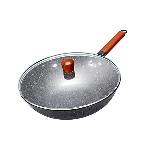 Wok Redondo Con Tapa De Cristal, Hierro Fundido,Con Mango De Madera, Sin Pfoa, SúPer Reforzado, Apta Para InduccióN, DiáMetro Superior De 32 Cm