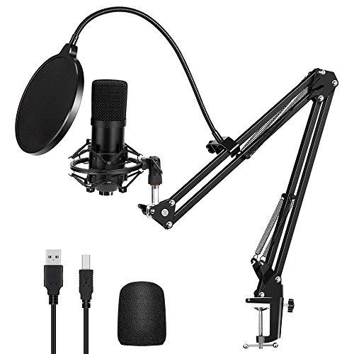 HALOVIE Micrófono de Condensador Estudio USB Kit de micrófono Profesional Computadora Cardioide Grabación para Grabar Música y Video Podcast YouTube Transmisión en Vivo Juegos Chat Soporte de Brazo