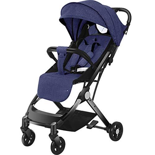 MAOSF kinderstoelen Baby kinderwagens kunnen zitten en liggen naar beneden en vouwen voor een knop seconden 3 kleuren beschikbaar, Geschikt voor 0-3 jaar oud Blauw