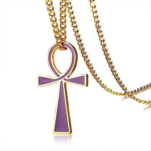 Aluyouqi Co.,ltd Collar Collar Collar Cruz Egipcia Collares Pendientes para Hombres Mujeres Color Dorado 316L St Collar De Acero Hombre Mujer Moda Joyería para Mujeres Hombres Regalo