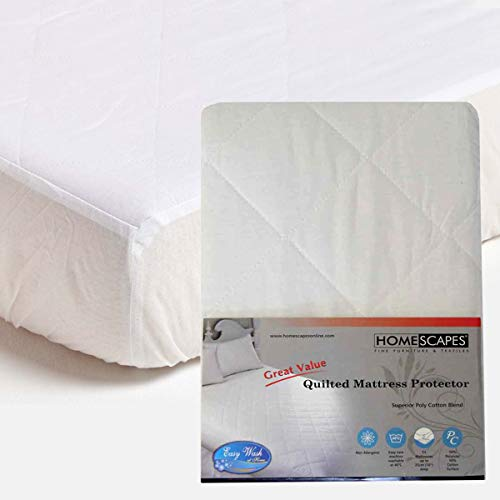 Homescapes Double Size Polycotton Quilted Mattress Protector 25 cm Deep Fitted Non Allergenic Bedding Protector 137 x 190 cm (54 x75 inches)