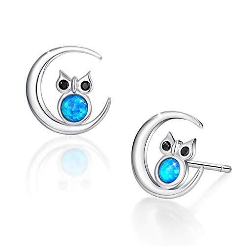 SIMPLGIRL Opal Eulen Ohrringe, 925 Sterling Siber Weisheit Eule Auf Einem Halbmond Zeichen Post Ohrstecker, 3mm