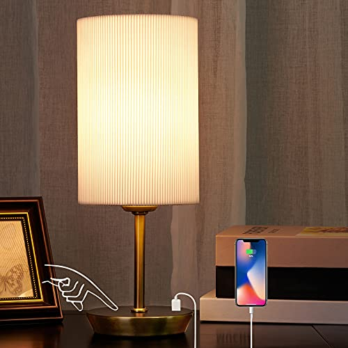 Touch Bedside Lamps, JIAWEN Dimmable USB Table Lamp with 2 USB Charging Ports, Modern Bedside Table Lamps with White Handmade Pleated Shade for Bedroom, Living Room, Nightstand, Office (Bulb Included)