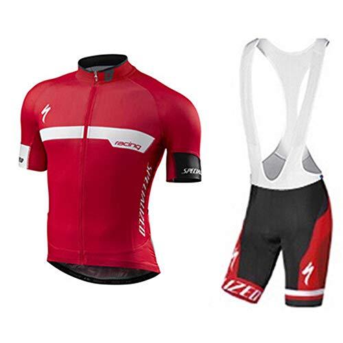 HANFEI Maglia Da Ciclismo Da Uomo Set Manica Corta In Jersey,Tuta Ciclismo Completo Bici Uomo Estivo Con Maglia E Imbottiti Pantaloncini Corti (6,L)