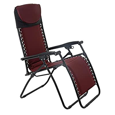 Azuma Zero Gravity Padded Garden Reclining Relaxer Lounge Lounger Chair In Dark Red by XS-Stock.com Ltd