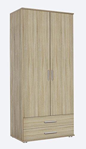 Rauch Möbel Rasant, Schrank Drehtürenschrank  inklusive 2 Schubladen, 2-türig, Zubehörpaket Basic 1 Einlegeboden, 1 Kleiderstange, Eiche Sonoma, 52 x 85 x 188 cm