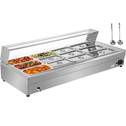 VEVOR 12-Pan Bain Marie Food Warmer 6-Inch Deep, 1800W Electric Countertop Food Warmer 84 Qt w/Tempered Glass Shield, 110V Food Grade Stainelss Steel Commercial Food Steam Table w/12 Lids & 2 Ladles