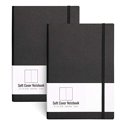 A5 Dotted Bullet Grid Softcover Journals(2-Pack)- AHGXG Dot Grid Notebook 5.75 x 8.38 inch with Premium Thick 120gsm Dot Paper, Total 320 Numbered Pages, blackblack