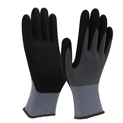 LSLMCS Industriehandschuhe, Ideal Für Die Autoreparatur, Beschichtete Nylon-Arbeitshandschuhe 6 Paare, Gestrickte Handgelenkmanschetten-Deko-Handschuhe (grau/Gelb) (Farbe : A)