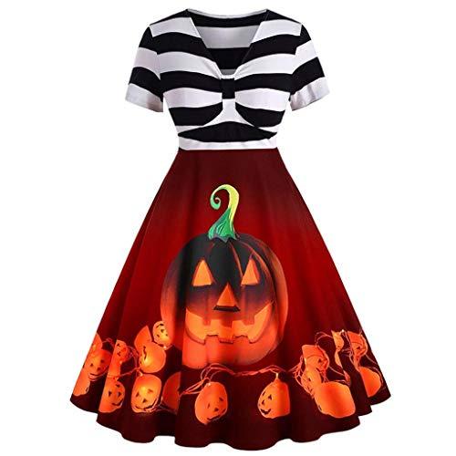 Vrouwen Vintage Halloween Jurk, Dames Korte mouw Stipe Pompoen A-lijn Jurk, Fancy Kostuum Party Swing Jurk 50s Huisvrouw Avond Party Prom Jurk