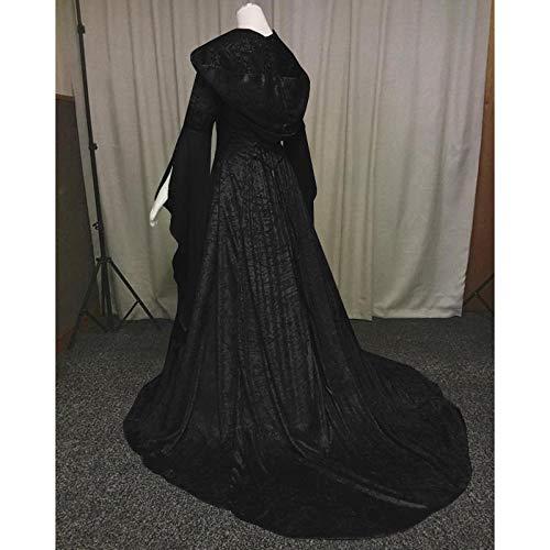 B/H Mittelalter Kleid Damen Kostüm,Mittelalterliches Retro-Tunika-Kleid mit Kapuze, Halloween-Kostümballkostüm-Black_M,Mittelalterlichen Vintage Kleid