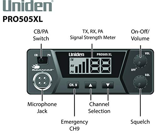 Uniden PRO505XL 40-Channel CB Radio. Pro-Series, Compact Design. Public Address (PA) Function. Instant Emergency Channel… 3