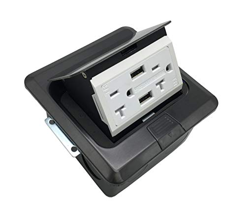 USB Pop Up Receptacle USB Floor Outlet Countertop Box With W/20 A Duplex Receptacle, Stainless Steel, Black