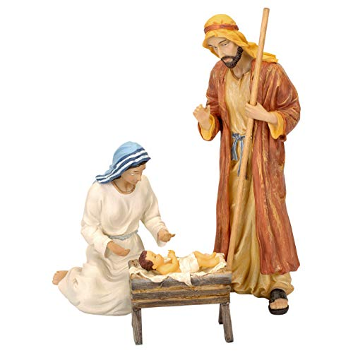 Set of 11 Nativity Figurines with Real Gold, Frankincense and Myrrh - 10 inch Scale Missouri