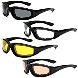 Peciees 4PCS Motorcycle Riding Glasses UV Protection Dustproof Windproof Bicycle Sunglasses Padded Frame Goggles for Outdoor Sports Activities