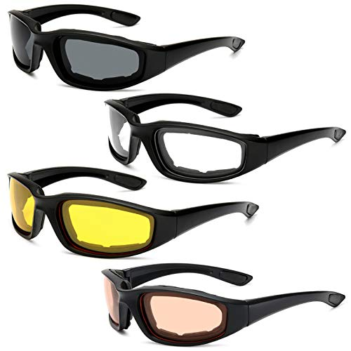 Peciees 4PCS Motorcycle Riding Glasses Bicycle Sunglasses Goggles for Outdoors
