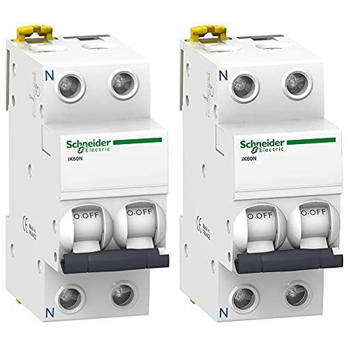 Schneider Electric A9K17632 Ik60N Interruptor Automático Magneto Térmico + A9K17616 Ik60N Interruptor Automático Magneto Térmico, 1P+N, 16A, Curva C, 78.5Mm X 36Mm X 85Mm, Blanco