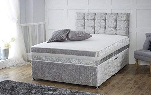Sleep Factory Ltd 4ft6 Silver Crushed Velvet 2 Drawer Divan Bed With Memory Foam Sprung Mattress And Matching Headboard – Available in 3ft, 4ft, 4ft6, 5ft, 6ft