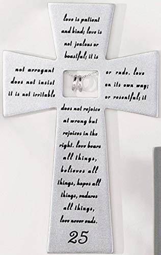 Roman 25th Silver Wedding Anniversary Wall Cross Love Never Fails