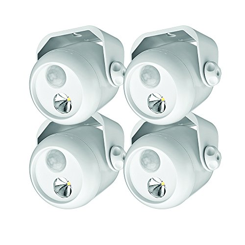 Mr Beams drahtloser, batteriebetriebener LED Mini Scheinwerfer mit Bewegungsmelder und Lichtsensor weiß MB304 (4-er Pack)