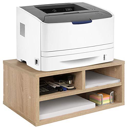 COMIFORT Druckerständer - Funktionale Halterung für Drucker/Faxgerät mit Geräumigen Fächern, Sehr Belastbar, Moderner und Minimalistischer Stil, Farbe: Weiß