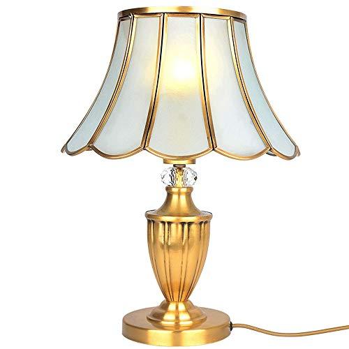 DKEE Lámparas de Mesa Lámpara De Vidrio De Soldadura De Cobre Lámpara De Mesa Lámpara De Mesa De Jardín De Sombra Lámpara De Cabecera Lámpara De Mesa De Latón Dorado Completa Iluminación De La Lá