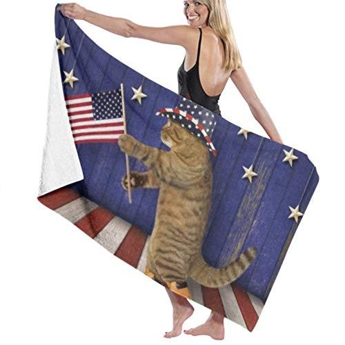 wusond Toalla de baño Microfibra Toalla de baño súper Suave Cat Patriot Hat Sostiene la Bandera Estadounidense Alta absorción de Agua, Multiuso 80cm * 130cm para baños, hoteles, gimnasios y Deportes