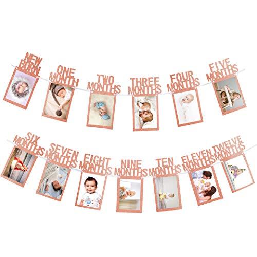 Whaline Baby Ersten Geburtstag Girlande, Baby 1-12 Monate Foto Prop, Foto Banner für erste heilige Kommunion, Baby-Dusche, Taufe, Party Dekor ( rosegold )