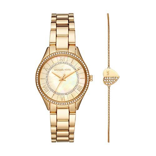 MICHAEL KORS Lauryn - Reloj de Tres Manecillas con Correa de Acero Inoxidable en Tono Dorado para Mujer- MK4490