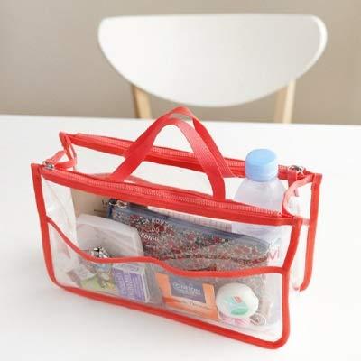 Mode PVC Transparent cosmétique Sac Femmes Organisateur Voyage Sac de Maquillage Clair Sacs de Plage de Grande capacité Poratable Sacs Toilette (Color : Red)