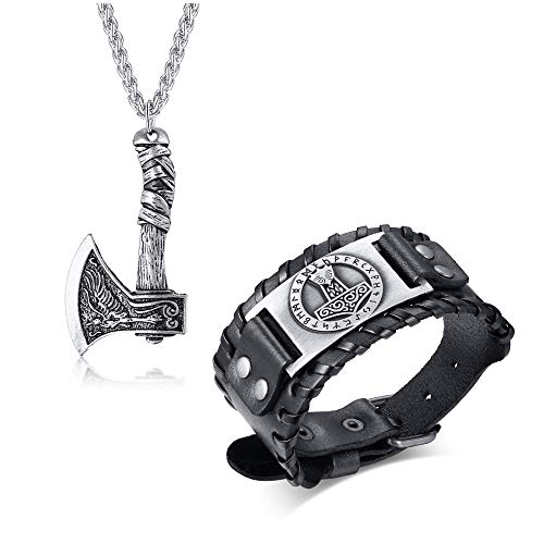 VNOX Nordic Jewelry Set Norse Viking Thor's Hammer Talisman Necklace with Viking Thor Hammer Bracelet Cuff Wide Leather Bracelets Gothic Bracelet for Celtic Pagan,Black
