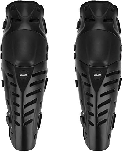 GuTe Knee Pads, Black Adjustable Long Leg Sleeve Gear Crashproof Antislip Protective Shin Guards for Motorcycle Mountain Biking-1 Pair