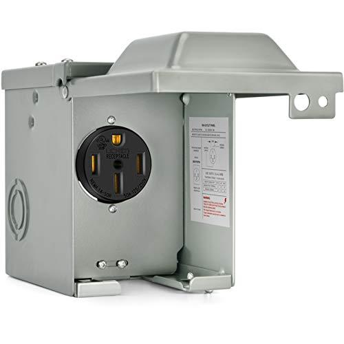 Kohree RV Power Outlet Box 50 Amp 125/250V, RV Power Receptacle Panel Plug, Nema 14-50R Enclosed Lockable Weatherproof Outdoor Electrical Box for Temporary Hookup RV Camper Travel Trailer Motorhome