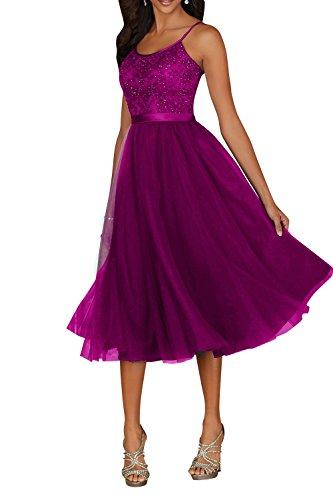 Royaldress Elegant Fuchsia Wadenlang Spitze Abendkleider Brautmutterkleider Ballkleider Abschlussballkleider A-Linie -38 Fuchsia