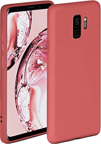 ONEFLOW Soft Hülle kompatibel mit Samsung Galaxy S9 Hülle aus Silikon, erhöhte Kante für Displayschutz, zweilagig, weiche Handyhülle - matt Rot