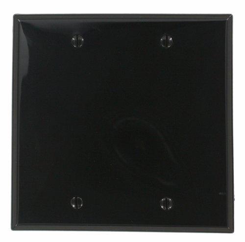 Leviton 80725-E 2-Gang No Device Blank Wallplate, Box Mounted, Ebony
