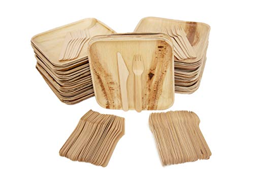 Eco Only Disposable party pack of 150 | Eco-friendly Palm Leaf Plates with Cutlery | 50 Disposable 8' Square Palm Leaf Plates, 50 Wood Forks, 50 Wood Knives Heavy Duty Biodegradable Party Utensils