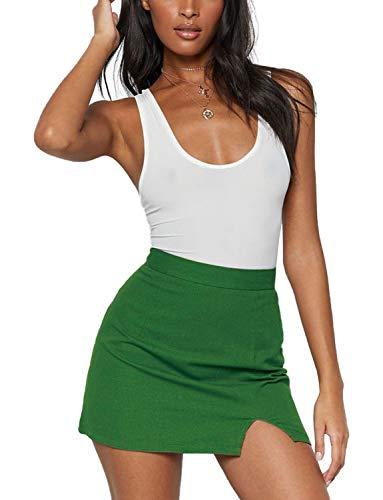 Women's Mini Bodycon Skirt High Waist Plus Size A-Line Split Front Short Skirts X-Large Solid Green
