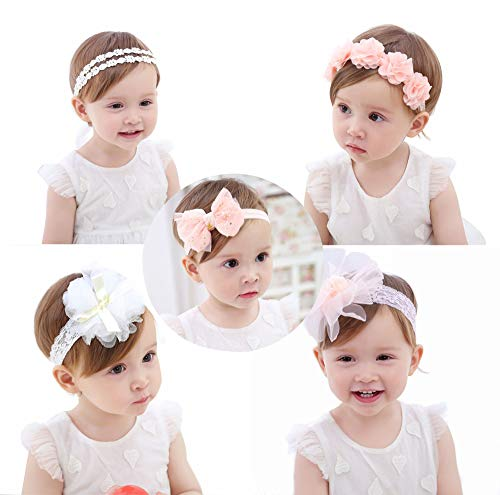 Baby Girls Headbands, Newborn Bow Hairband Chiffon Flower Lace Band Hair Accessories for Newborns, Toddlers and Children