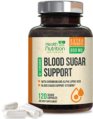 Blood Sugar Support Supplement Extra Strength 20 Herbs & Vitamin Blend 1197mg - Made in USA - Best Vegan Multivitamin Blend with Cinnamon, Chromium and Alpha Lipoic Acid - 120 Capsules