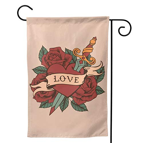 Tidyki – Bandera Decorativa de Doble Cara con diseño de Rosas, con Texto en inglés Love Rose Arrow y…