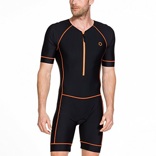 Gregster Herren Triathlonanzug Trisuit Einteiler atmungsaktiv schnelltrocknend Wettkampfanzug, schwarz, L